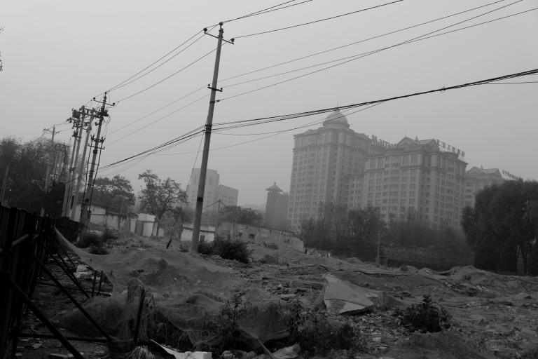 Marriott surrounded by rubble. Beijing, China