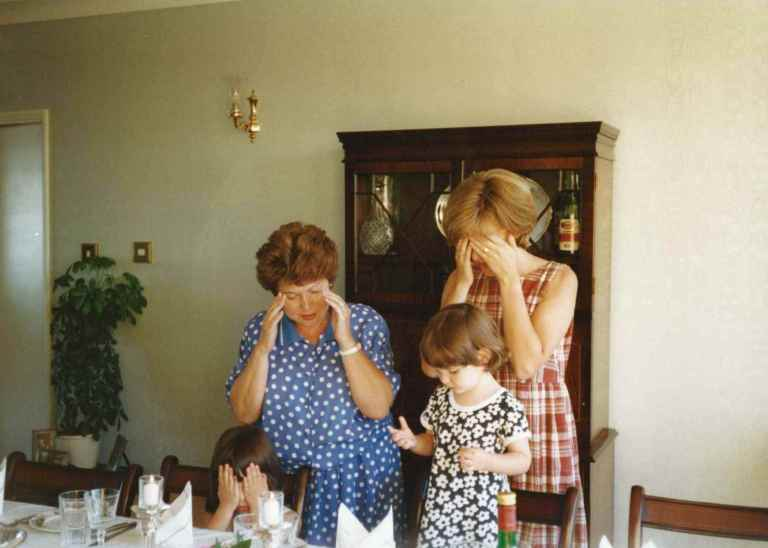 Lighting the Shabbat candles, 1997, with my grandmother, mother and sister