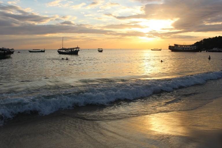 Christmas day beach sunset in Sihanoukville, Cambodia